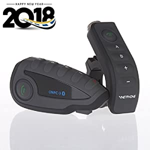 Vnetphone V8 BT 3.0 Bluetooth Intercom Motorcycle Helmet Waterproof Interphone Headset 5 Riders up to 1200M Wireless communication Walkie Talkie Connecting to MP3/GPS & FM