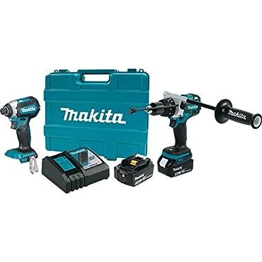 Makita XT267T 18V 5.0 Ah LXT Cordless Lithium-Ion Brushless Hammer Drill and Impact Driver Combo Kit