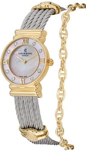 charriol-st-tropez-ladies-mother-of-pearl-dial-yellow-gold-plated-diamond-watch-028yd1540552