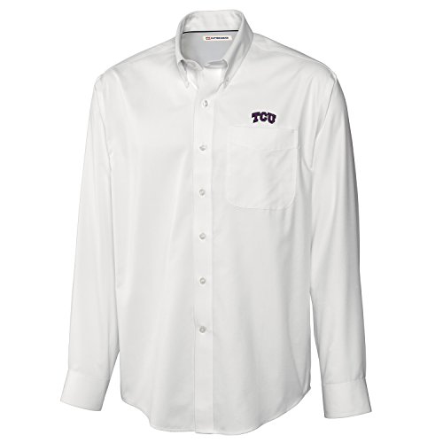 Cutter & Buck NCAA Tcu Horned Frogs Men's Long sleeve Epic Easy Care Fine Twill Shirt, XX-Large, White -