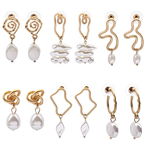 - Shell Earrings for Women Hoop Pearl Drop Dangle 14K Gold Plated Fashion Jewelry for Girls (14K+Pearl YM8-03)