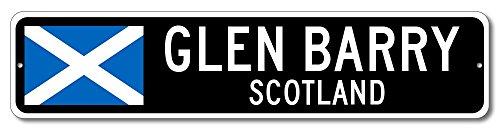 "Scotland Pennant Sign - GLEN BARRY, SCOTLAND - Custom City Flag Sign - 6""x24"" Inches"