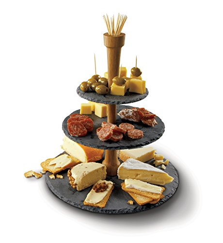 Boska Holland 359007 Cheese Tower, 3 Tier Serving Tray, Slate and Oak Wood, Pro Collection (Mission Oak Server)