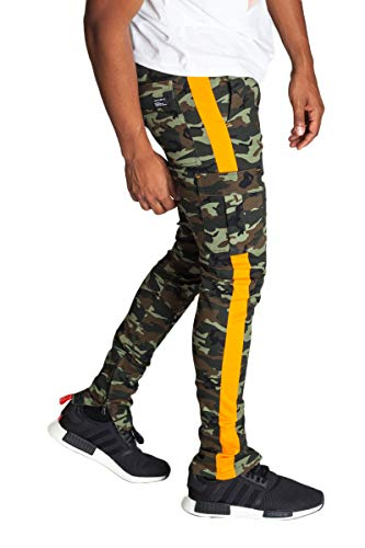 (KDNK Men's Tapered Skinny Fit Stretch Twill Cargo Ankle Zip Camo Track Pants (Small, Olive Camo/Orange Stripe))