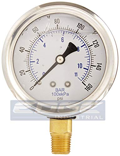NEW STAINLESS STEEL LIQUID FILLED PRESSURE GAUGE WOG WATER OIL GAS 0 to 160 PSI LOWER MOUNT 0-160 PSI 1/4