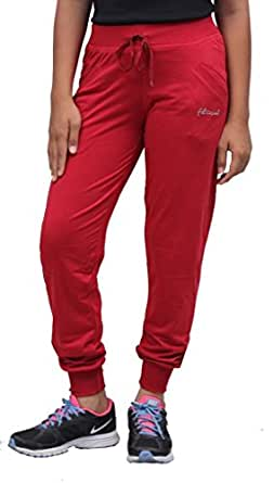 Romano Women Red Cotton Track Pant (romwomflori442redtrack_m, Medium, Red)