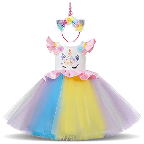 Little Big Girls Flower Ruffle Tulle Unicorn Costume Cosplay Princess Wedding Pageant Birthday Tutu Dress up Halloween Outfits Rainbow Dress + Headband #c 2-3 Years