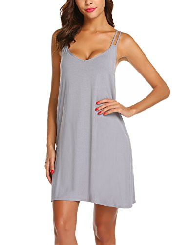 Ekouaer Striped Cotton Nightwear Sexy Nightgown for Women,S-gray,Large