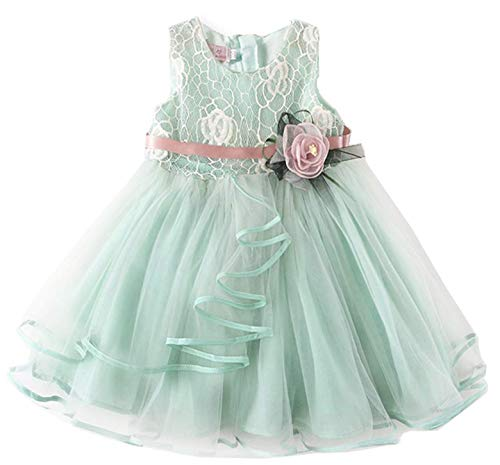 NNJXD Lace Pageant Princess Girls Flower Wedding Party Dresses Size (90) 1-2 Years Flower-Green ()