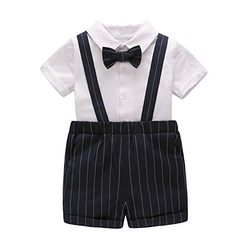 Feidoog Summer Baby Boys Gentleman Outfits Suits,Formal Short Sleeve Shirt+Bib Pants+Bow Tie Romper Tuxedo Outfit Suit,Black,6-9M