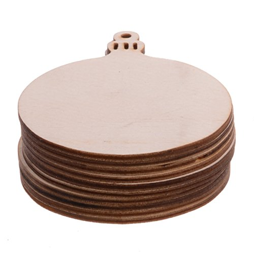 Package of 10 Unfinished Round Wood Christmas Ornaments Hanging Kid DIY Crafts