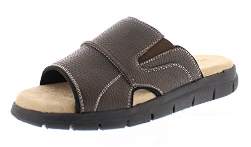 Gold Toe Men's Russell Open Toe Fisherman Slide Sandal Casual Memory Foam Comfort Slip On Flats Shoes Brown 11.5D US