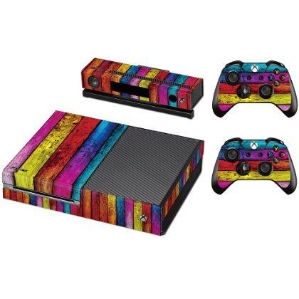 Pandaren Xbox ONE Console Full Skin Sticker Faceplates(Color Wood Console Skin X 1 + Controller Skin X 2) (Skin Soccer Life)