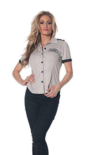 [Underwraps Women's Prison Guard Fitted Shirt, Grey/Black, Medium] (Prison Halloween Costumes)
