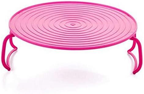 Microondas Horno Bandeja accesorio de herramienta de cocina multifunción rack para cocinar al vapor plegable rosa