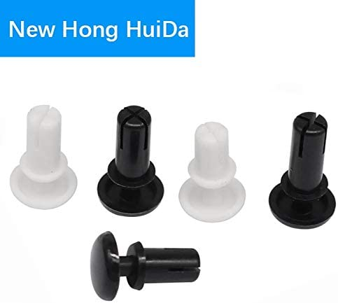 Size: R3545 120pcs Nuts 120Pcs Diameter 3.6mm Nylon Plastic R Type Expansion Rivet Nut Buckle Clip for Computer PCB Mother Board Black White - , Color: Black