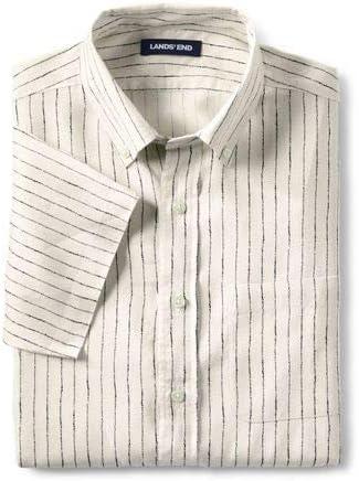 (ランズエンド)メンズ ・リネン・シャツ/柄/半袖