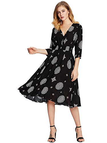 Milumia Women's Button Up Split Floral Print Flowy Party Maxi Dress (X-Large, Black-White)