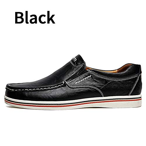 British Style Boat Shoes Men Dress Shoes Loafers Formal Business Oxfords Shoes Black 6.5