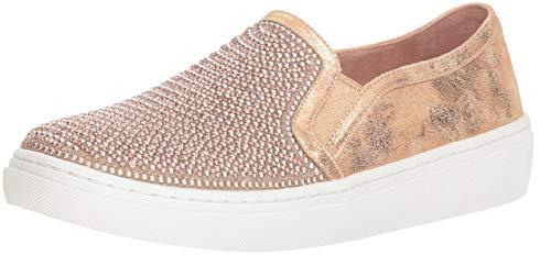 Skechers Women's Goldie-Rhinestone and Pearl Embellished Slip on Sneaker, Rose Gold, 9.5 M US