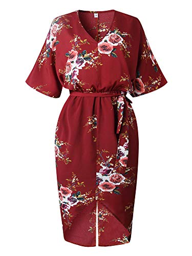 Casual Red Wine Neck Split Short with V Boho Belt Dresses Floral Sleeve Allumk Dress Womens qpwSxC