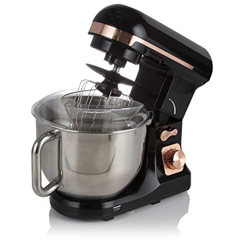 Tower T12033 Stand Mixer with 6 Speeds and Pulse Setting, Removable 5 Litre Stainless Steel Mixing Bowl, Includes Beater, Dough Hook and Whisk, 1000 W, Rose Gold