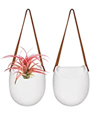 La Jolíe Muse Wall Planter-Hanging Ceramic Planter Pots Set 2 for Indoor Outdoor Home Garden Herb