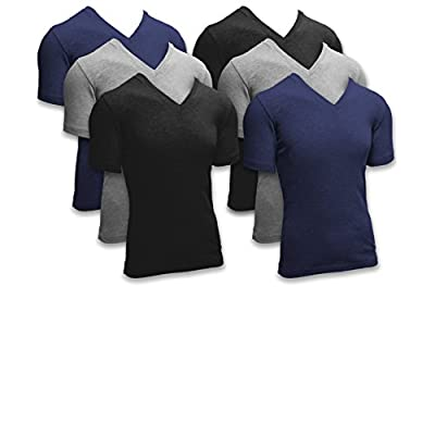 Andrew Scott Basics Men's 6 Pack Short Sleeve V Neck Flexible Rib Color T Shirts (S, 6 Pack - Assorted Black Grey Navy) at Amazon Men's Clothing store