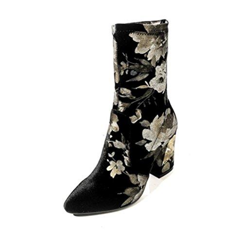 Samt Damenschuhe Fußstiefel Dicke Hochwertigen Mühle QPYC Hochwertigen Mit Stiefel Gedruckt Weibliche Stiefel Frauen Spitzen Nicht 1wgxqXR