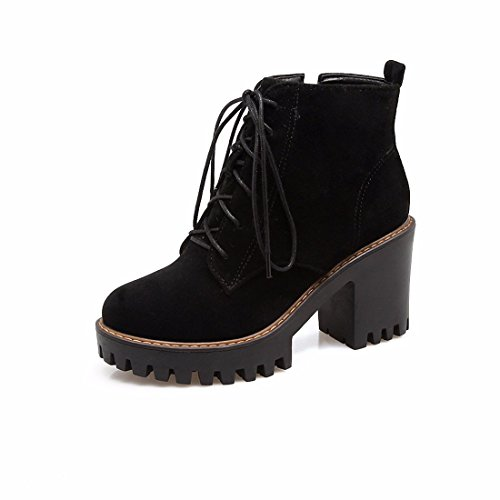 RFF-Women's Shoes Autumn winter waterproof table, high-heeled women's shoes, suede, front tie, short boots, big yards Black (Terry)