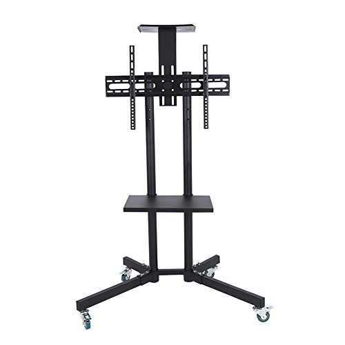 Mobile TV Cart Adjustable Stand Mount with Wheels for 32-65 Inch LCD/LED Flat Panel Screen Black (with Top Shelf)