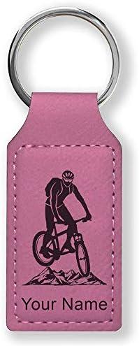 Llavero rectangular, bicicleta de montaña, grabado personalizado ...