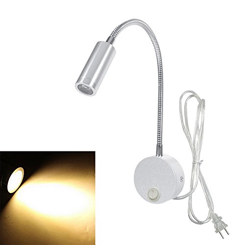 Onerbuy Plug Wired Flexible Gooseneck Wall Sconce Reading Lamp Art Works Show Accent Light Wall Mount Spot Lamp Fixture with On/off Switch (Silver-Warm White)