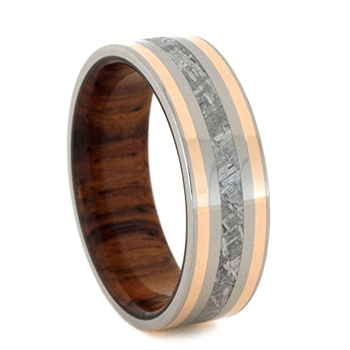 Gibeon Meteorite, 14k Rose Gold, Titanium 7mm Comfort-Fit Honduran Rosewood Band, Size 10 by The Men's Jewelry Store (Unisex Jewelry)