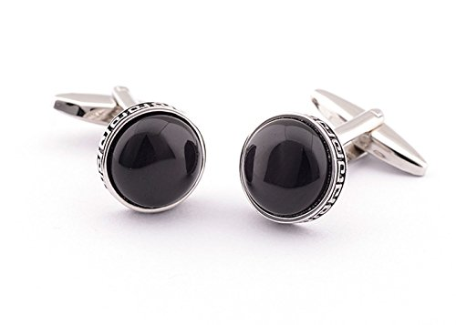 Fashion2Beauty Super Shiny Swarovski Similar Crystal The Black Opal Circular Cufflinks Elegant Style (Circular Mens Cufflinks)