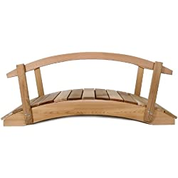 All Things Cedar Garden Foot Bridge with Hand Rails, 4'