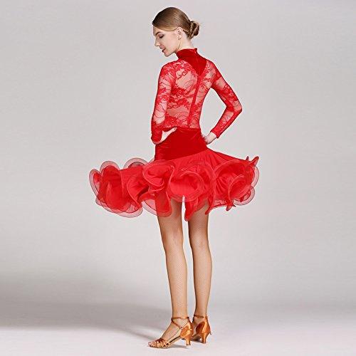 Liu Sensen Modern Lady Velluto Moderna Danza Abito Grande Pendolo Tango E Valzer Ballo Vestito Danza Gonna Manica Lunga Net Filato Dancing Costume Forniture per l'istruzione Pentole e padelle