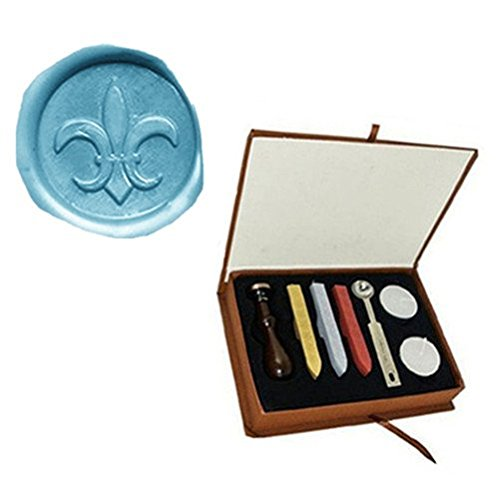 Vintage Fleur-de-lis Custom Picture Logo Wedding Invitation Wax Seal Sealing Stamp Sticks Spoon Gift Box Set Kit