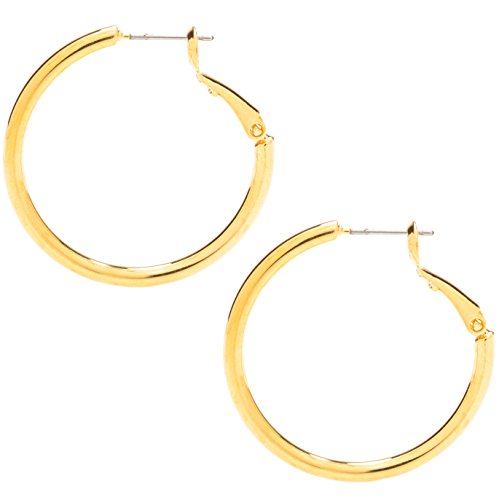 Hoop Earrings, Medium, 24K Gold Over Bronze, Premium Fashion Jewelry, Hypoallergenic, Safe for Most Ears, 1.25 Inches (yellow-gold-plated-bronze)