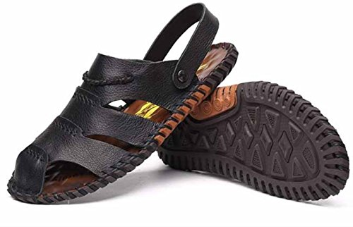 YCMDM Uomo Scarpe sandali nuovi maschio di cuoio casuali sandali britannici morbida spiaggia di scarpe fondo , black , 42