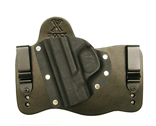 FoxX Holsters (Pick Your Firearm IWB Hybrid Holster Black Leather Left Draw Tuckable, Concealed Carry Gun Holster (Glock 43)