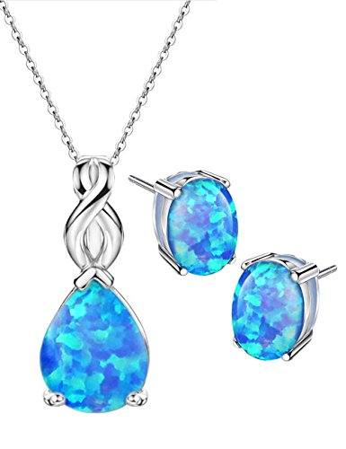 Trillion Ring Accented - Mints Blue Opal Jewelry Set Sterling Silver Pendant Necklace Stud Earrings October Birthstone Gemstone Fine Jewelry for Women