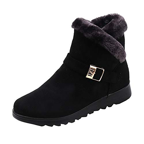 Boots top Flat High Boots Velvet Ankle Wedge NEEDRA Snow Black Women's Winter Fashion Plus wWBCT1q6I