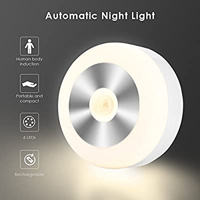 Motion Sensor Light, PAVLIT USB Rechargeable LED Night Light with 3M Adhesive Pads, Hook, 3 Lighting Modes Cordless Cabinet Lights for Stairs, Closet, Bedroom, Kitchen, Nurseries (Warm White)