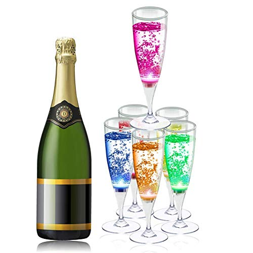 YANX 6 Pack Wine LED Glasses Champagne Flutes LED Glasses Flashing Cups LED Liquid Activated for Bar Night Club Party Drink Halloween Christmas Wedding Party Decoration]()