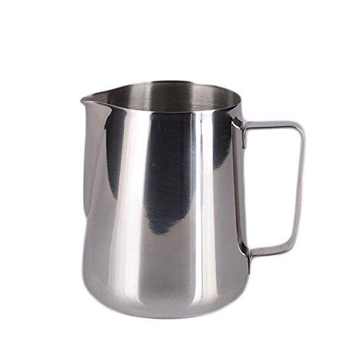 Milk Frothing Pitcher Stainless Steel Froth Pouring Jug Silver Cup 12 Ounce (350 ML) Latte Art Creamer Cup Perfect for Espresso Machine,Cappuccino Hot Milk Frother and Latte Maker (Stainless Maker Steel Cappuccino)