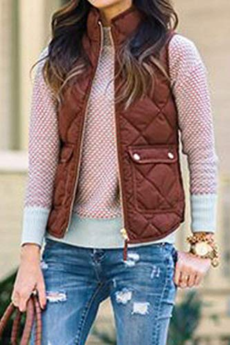 Adelina Winter Sleeveless Vest Comfortable Down Collar Front Stand Vest Autumn with Zipper Women's Pockets Color Mode Outerwear Red Coat Plain Warm wE8qrw0