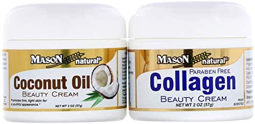 Mason Natural Coconut Oil Beauty Cream Collagen Beauty Cream 2 Jars 2 oz 57 g Each