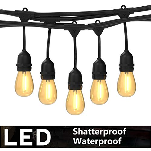 Foxlux Outdoor LED String Lights,48FT Shatterproof&Waterproof S14 Heavy-Duty Outdoor Lights,15 Hanging Sockets,1W Plastic Vantage Bulbs,Create Ambience for Bistro/Patio/Cafe/Garden/Backyard/Party