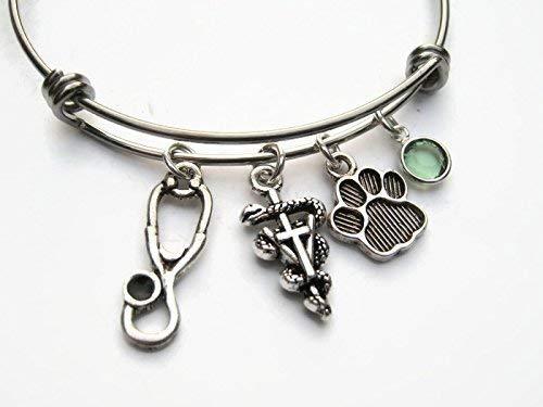 Stainless Steel Bracelet Expandable Bangle Bracelet Vet Tech Gift Veterinary Technician Aesculapius Bracelet Personalized Vet Tech Bracelet
